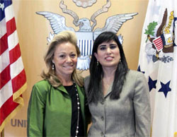 American Ambassador to the UN Eileen Donahoe and Naghmeh Abedini